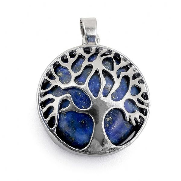 Rhodium Plated Lapis Lazuli Tree of Life Pendant 27mm x 31mm
